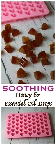 DIY Soothing Essential Oil & Honey Drops - replace with doterra oils : on guard, lemon, frank Doterra Oils, Doterra Essential Oils, Natural Essential Oils, Essential Oil Blends, Natural Oils, Doterra Blends, Natural Health, Natural Products, Essential Oil Sore Throat