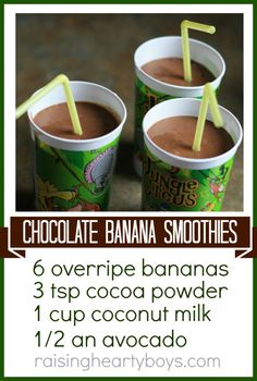 Chocolate Banana Smoothies: 6 overripe bananas, 3 tsp cocoa powder, 1 cup coconut milk, 1/2 an avocado. Great Summer recipe to use up overripe bananas... Yum!!