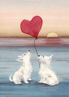 Romantic west highland terrier (westie) pair on beach / Lynch signed folk art print by watercolorqueen on Etsy