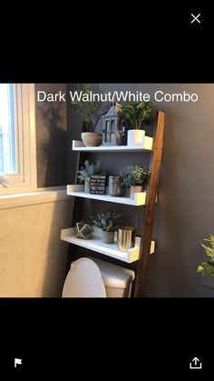 This listing is for an over-the-toilet ladder shelf. Its a great space saver. We do have some Dark Walnut stained ladder shelves that ship within 1 business day that you can view here: The Cream, Ladder Shelf Diy, Ladder Decor, Over The Toilet Ladder, Minwax Stain, Bathroom Organisation, Organization Ideas, Bathroom Storage, Bathroom Interior