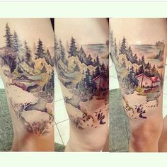 New Landscape Tattoo Sleeve Forests Pine Tree Ideas Forest Tattoos, Nature Tattoos, Dad Tattoos, Body Art Tattoos, Tatoos, Knee Tattoo, I Tattoo, Scenery Tattoo, Landscape Tattoo