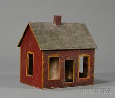 Small Painted Wooden Dollhouse | Sale Number 2468, Lot Number 187 | Skinner Auctioneers