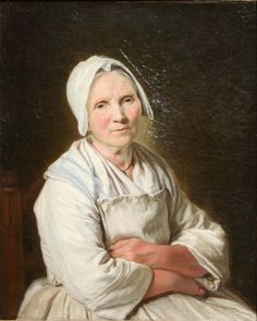 Francoise Duparc, Vielle Dame, mid-18th century.   (Note - stripes on kerchief, white on white)