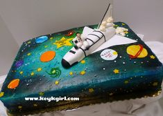 Space shuttle and astronaut birthday cake