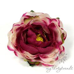 Ansteckrose in bordeauxviolett-cremeweiß Ø 6 cm von Boutique für wundervolle Accessoires zum Liebhaben! auf DaWanda.com
