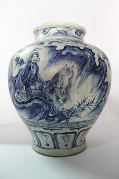 Amazing Antique Chinese Blue and White Porcelain Vase Early Qing Dynasty China