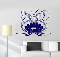 Vinyl Wall Decal Lotus Flower Ornament Floral Stickers Mural (644ig)