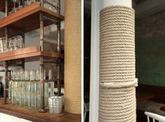 Columns wrapped in rope  Nautical Rope Details at Le Mary Celeste, Remodelista