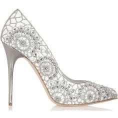 Alexander McQueen crystal embellished suede pumps