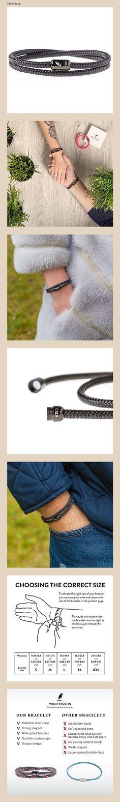 Wind Passion Armband Schwarz Unisex Maritim Segeltau mit Magnetverschluss für Männer und Frauen, Größe Small - 14fj