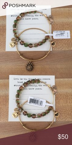 Alex and Ani Water Lily Set of 2 Bracelets Brand new with tag and card, as pictured.  Alex and Ani Water Lily Set of 2 Bracelets in Rafaelian Gold finish. Alex & Ani Jewelry Bracelets
