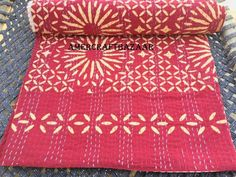 "Applique Handmade Hand Blocked Kantha Quilt Coverlet Organic Natural Color Boho Bedspread 90""x108"" Throw Cotton Blanket Ralli Gudari Queen"