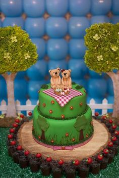 """When I say """"birthday"""", do you think """"cake""""? You'll love these awesome themed birthday cakes for boys! Chocolate Birthday Cake For Men, Birthday Cakes For Men, Themed Birthday Cakes, Cakes For Boys, Picnic Birthday, Boy Birthday Parties, Picnic Cake, Teddy Bear Birthday, First Birthdays"""