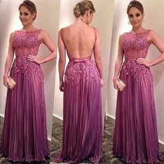 Appliques Pleated Backless Chiffon Prom Dresses 2017