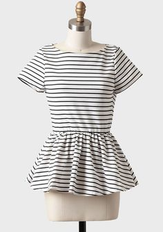 By The Bayou Striped Peplum Top | Modern Vintage Tops