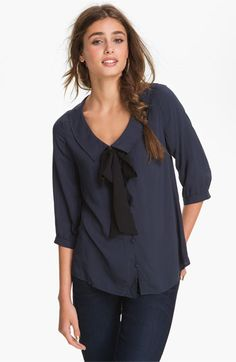 BP. Boxy Bow Blouse in navy | Nordstrom $44.00