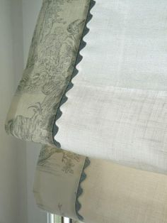 #088 Roman Shade with Toile Accent and Rickrack (slats) YOU PAY 1/2 DOWN