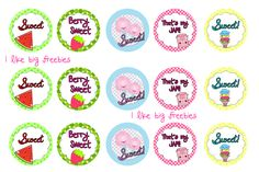 Sweet bottlecap images (watermelon, berry, cotton candy, ice cream and jam)