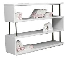 Stage 3 Modern White Lacquer Shelving Wall Unit