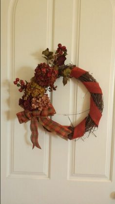 Fall grapevine wreath made by Audrey Rose