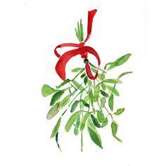 Mistletoe Art print of original watercolor painting ,Christmas bouquet with Red ribbon, Holiday wall decor,Limited edition. $21.00, via Etsy.