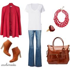 Simply Red by archimedes16 on Polyvore featuring EAST, LnA, AG Adriano Goldschmied, Madewell, J.W. Hulme Co., Kate Spade, bootcut jeans, oversized cardigans and tee shirts