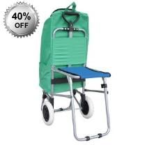 Green Portable Folding Luggage Trolley Cart & Seat - Foldable Seat - Carrying - Bag Aluminium