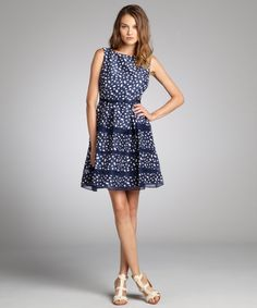 @Gail Newbold what about this one? Taylor navy and white polka dot print back button sleeveless party dress | BLUEFLY up to 70% off designer brands