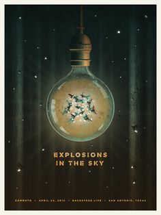 Gig poster Explosions in the Sky, San Antonio - DKNG Studios Graphic Design Posters, Graphic Design Illustration, Graphic Design Inspiration, Poster Designs, Old Posters, Web Design, Print Design, Concert Posters, Music Posters