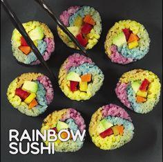Rainbow Sushi - How To Eat Healthy Cute Food, Good Food, Yummy Food, Banana Bread Easy Moist, Sushi Art, Sushi Food, Veggie Food, Veggie Sushi, Sushi Lunch