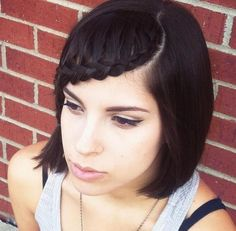 Idée Tendance Coupe & Coiffure Femme 2018 : : Braids for Short Hair: 20 Newest Ideas Cute Hairstyles For Medium Hair, Cute Braided Hairstyles, Short Hair With Bangs, Short Hair Cuts, Medium Hair Styles, Short Hair Styles, Girl Short Hair, Shorter Hair, Summer Haircuts