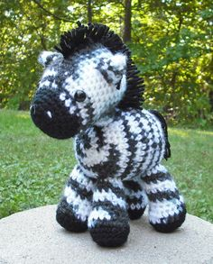 A horse pattern by Linnea Ornstein made into a zebra with black and white print yarn.