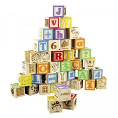 This set of 40 wooden blocks are a natural wood color with two sides brightly painted in different colors.