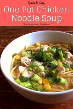 This super easy chicken noodle soup is ready in under 15 minutes - a perfect quick, healthy lunch or midweek dinner. Chicken, noodles, sweetcorn and spring onions cooked in miso soup, all in one pot. Perfect for freelancers and people working Quick Healthy Meals, Healthy Pasta Recipes, Quick Dinner Recipes, Easy Meals, Easy Recipes, Healthy Soups, Healthy Lunches, Cheap Meals, Amazing Recipes