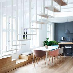 """Appartement in Oslo von Haptic Architects - diese Treppe ist der Hammer! The staircase - it´s """"a killer"""" ; Scandinavian Interior Design, Scandinavian Kitchen, Scandinavian Style, Stylish Interior, Simple Interior, Escalier Design, Appartement Design, Floating Staircase, Interior Minimalista"""