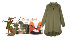 """Robin Hood (Robin Hood)"" by claucrasoda ❤ liked on Polyvore featuring Aquazzura, Maison Michel, Lord & Taylor and falldresses"