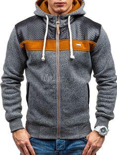 Sudadera con capucha de algodón mezclado encapuchada con cremallera de color-blocking estilo informal