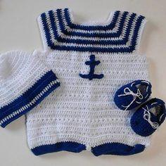 Conjunto Marinero ⚓ tejido en crochet para bebés  #Conjunto #Tejido #Crochet…