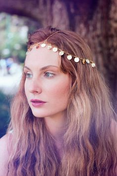 Chain Head Piece Chain Head Dress Hair Jewellery Goddess Bohemian Boho Nicole Richie Inspired Gold Coin Disc Head Chain Head Piece