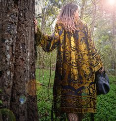 30% OFF | Boho Kimono velvet Green  Gypsy , Women Boho Fringe Kimono Floral Kimono Tassels, Cape Jacket Gold by HippieMassa