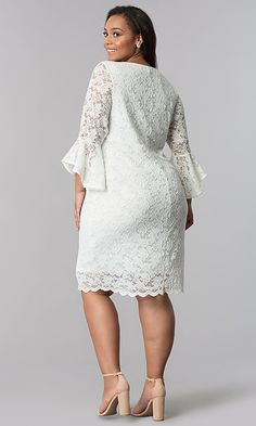 Plus-Size Short White Lace Bell-Sleeve Party Dress Party Dresses With Sleeves, Lace Party Dresses, Lace Dress With Sleeves, Bell Sleeves, White Lace Dress Short, Little White Dresses, Plus Size Cocktail Dresses, Plus Size Party Dresses, Lace Dress Styles