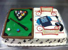 Billiards / hockey themed grooms cake.
