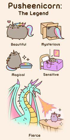 Pusheenicorn: the legend, text, Pusheen; Pusheen and like OMG! get some yourself some pawtastic adorable cat apparel! Gato Pusheen, Pusheen Love, Pusheen Unicorn, Pusheen Stuff, Chat Kawaii, Kawaii Cute, Nyan Cat, Crazy Cat Lady, Crazy Cats