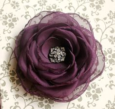 Dark burgundy hair flower  organza open rose door BombshellBlooms, $22.00