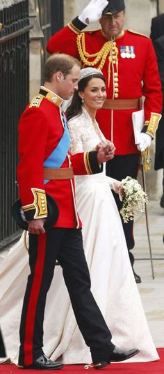 Their Royal Highnesses Prince William, Duke of Cambridge and Catherine, Duchess of Cambridge following their marriage at Westminster Abbey on April 29, 2011 in London, England.