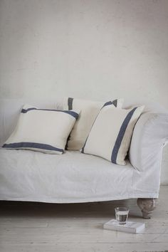Linen cushion cover | Blue and charcoal Arles stripe £22.