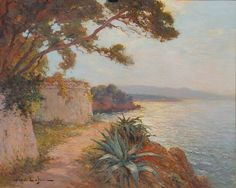 A View on the Cote d'Azur   From a unique collection of still-life paintings at https://www.1stdibs.com/art/paintings/still-life-paintings/