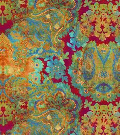 Floral upholstery fabric, Flowing graceful floral design with charming colors. Content: 100% Polyester Width: 54 inches Fabric Type: Print Upholstery Grade: N/A Horizontal Repeat: 27 Inches Vertical R