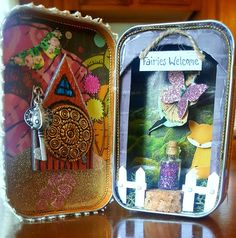 Doorway to Fairyland! By Kae. Cork Art, Artist Trading Cards, Fairy Land, Tim Burton, Doorway, Atc, Tins, Minions, Lunch Box