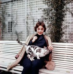 Audrey with a beautiful kitty.
